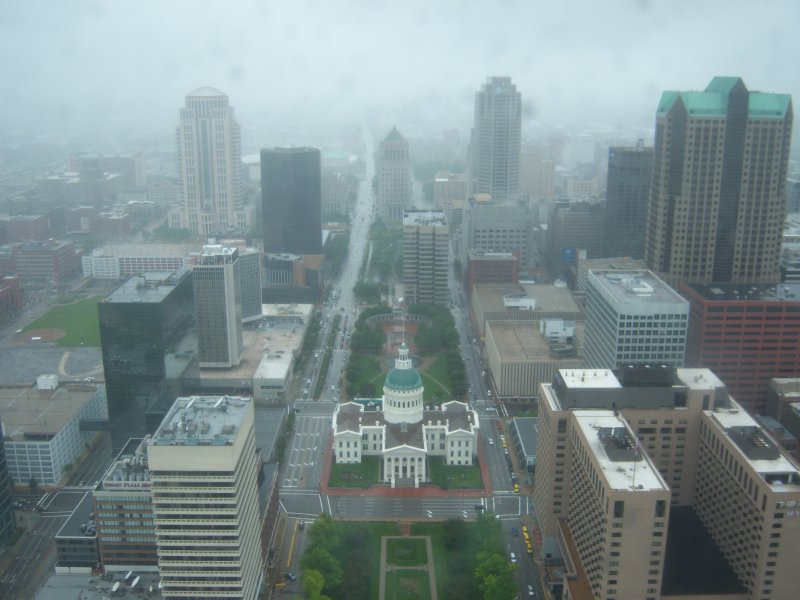 Looking into St. Louis from the Arch