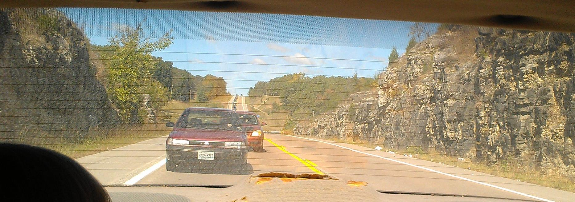 Traffic Backed up on HWY 5 During Jacob's Cave Swap